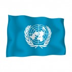 United Nations waving flag, decals stickers