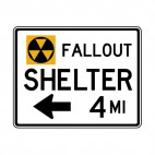 Nuclear fallout shelter at 4 miles direction sign, decals stickers