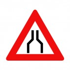 Both lane road merge warning sign, decals stickers