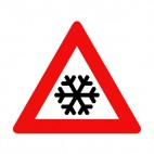 Snowflake warning sign, decals stickers