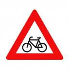 Bicycle warning sign, decals stickers