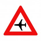 Airplane flying low warning sign, decals stickers