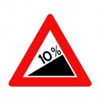 10 percent steep hill warning sign, decals stickers