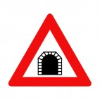 Tunnel warning sign, decals stickers