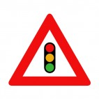 Traffic light ahead warning sign , decals stickers
