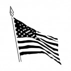 United States waving flag on pole, decals stickers