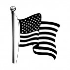 United States flag on a pole waving, decals stickers