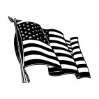 United States flag waving on a pole , decals stickers