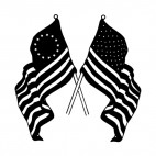 United States and 13 star Betsy Ross flags, decals stickers