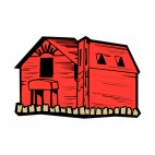 Red wooden barn, decals stickers