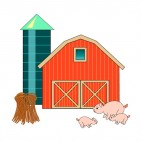 Farm with barn,silo and pigs, decals stickers