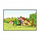 Farmland with houses, decals stickers