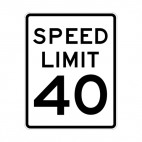 Speed limit 40 miles per hour sign, decals stickers
