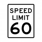 Speed limit 60 miles per hour sign, decals stickers