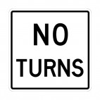 No turns sign, decals stickers