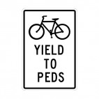 Bicycle yield to peds sign, decals stickers