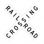 Rail road crossing sign, decals stickers