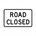 Road closed sign, decals stickers