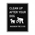 Clean up dog poop  100$ fine sign, decals stickers