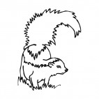 Skunk with tail up, decals stickers