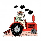 Cow riding tractor, decals stickers