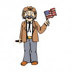 United States cowboy with us flag, decals stickers
