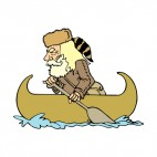 Frontier Man in canoe, decals stickers