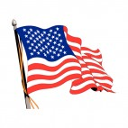 United States on a pole waving, decals stickers