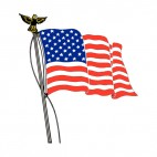 United States flag waving on a pole with eagle statue, decals stickers