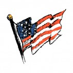 United States flag on a pole waving drawing, decals stickers