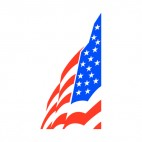 United States flag sideview drawing, decals stickers