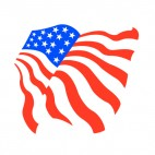 United States flag waving sideview drawing, decals stickers