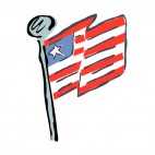 United States flag on a pole drawing, decals stickers