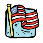 United States flag on gold pole waving drawing, decals stickers