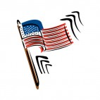 United States flag on wood pole waving drawing, decals stickers