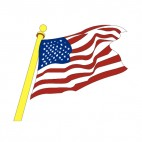 United States flag waving on gold pole, decals stickers
