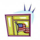 United States flag looking trough window, decals stickers