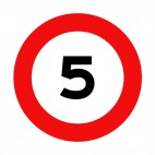 5 km per hour speed limit sign, decals stickers