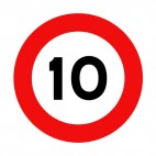 10 km per hour speed limit sign , decals stickers