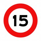 15 km per hour speed limit sign , decals stickers