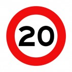 20 km per hour speed limit sign , decals stickers