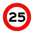 25 km per hour speed limit sign , decals stickers