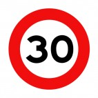 30 km per hour speed limit sign , decals stickers