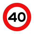40 km per hour speed limit sign , decals stickers