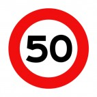 50 km per hour speed limit sign , decals stickers