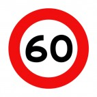 60 km per hour speed limit sign , decals stickers