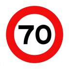 70 km per hour speed limit sign , decals stickers