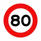 80 km per hour speed limit sign , decals stickers