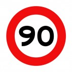 90 km per hour speed limit sign , decals stickers