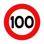 100 km per hour speed limit sign , decals stickers